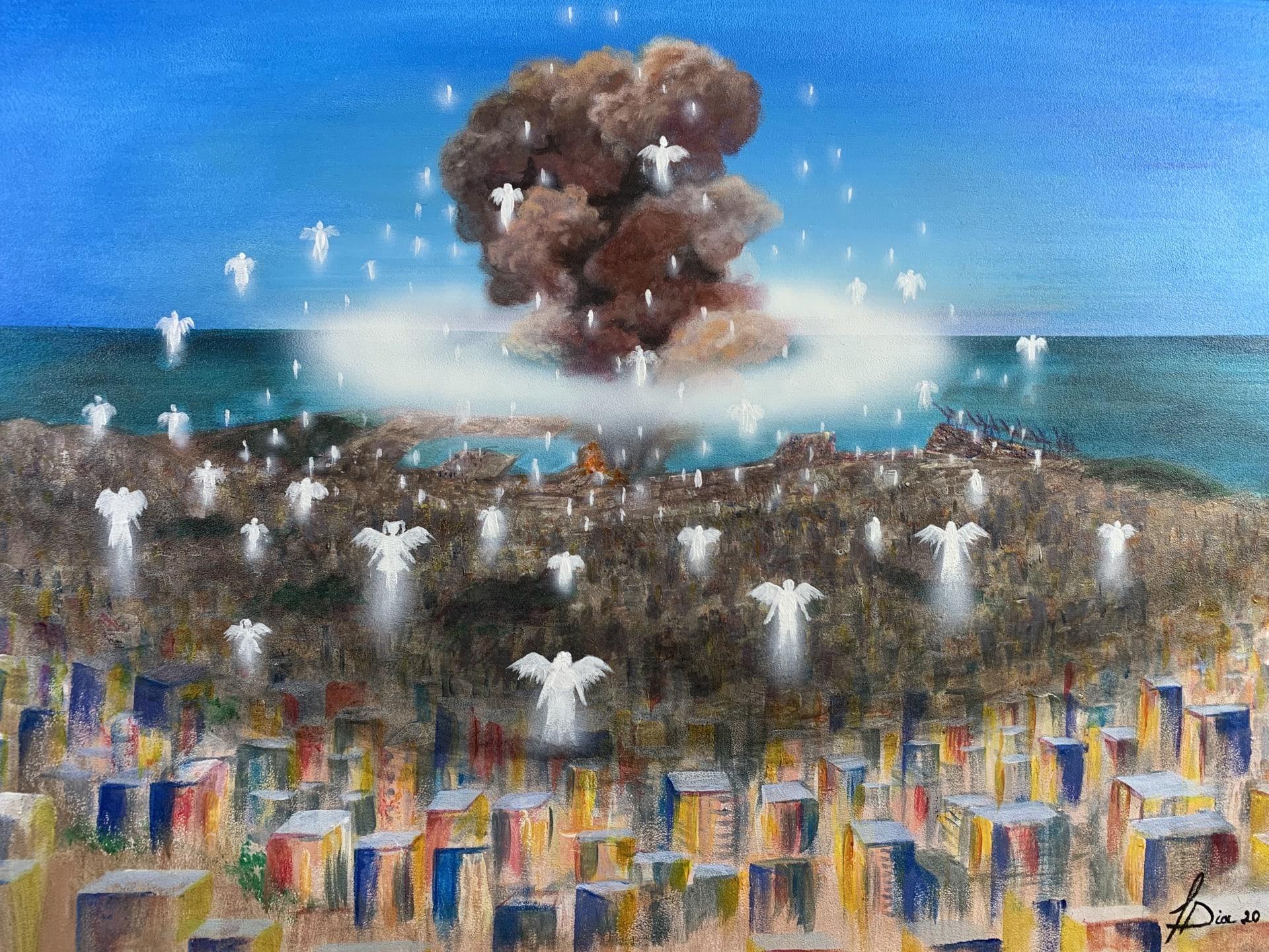 لوحة تجسد مأساة انفجار بيروت