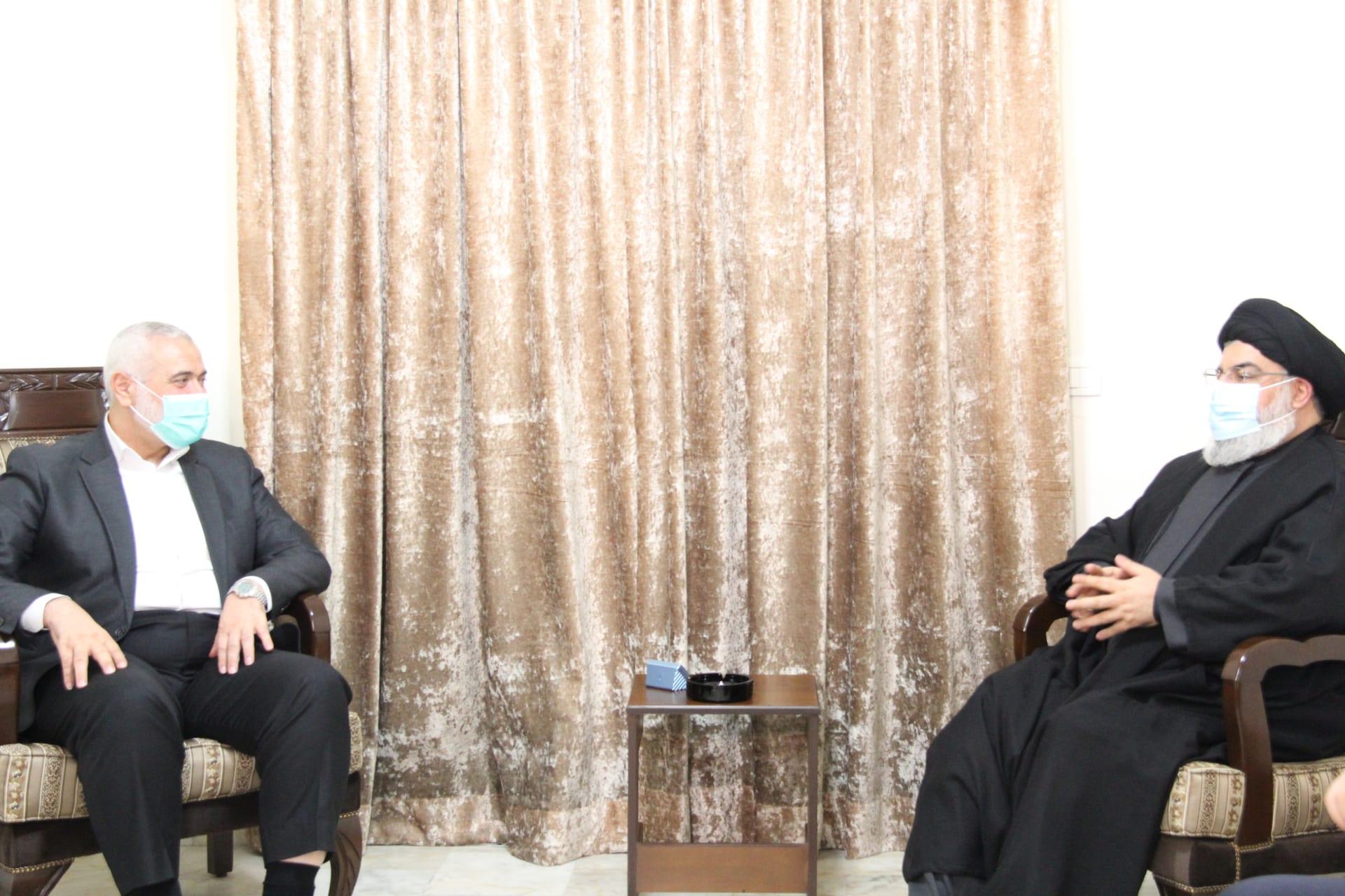 ظهرا بالكمامة.. حسن نصرالله يستقبل إسماعيل هنية في لبنان: علاقة حزب الله وحماس متينة