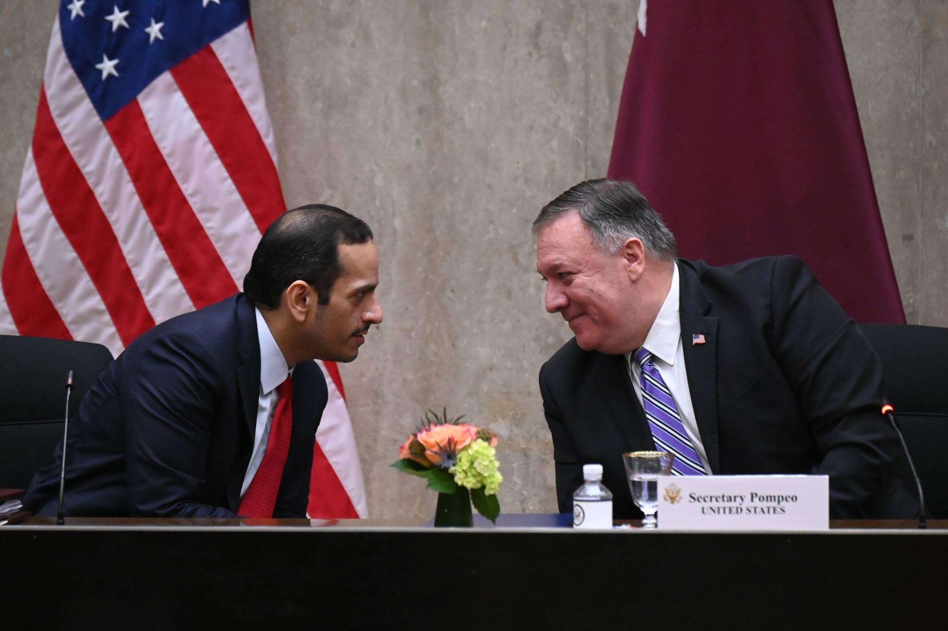 صورة أرشيفية من لقاء وزيري خارجية أمريكا وقطر بواشنطن في 14 سبتمبر الجاري