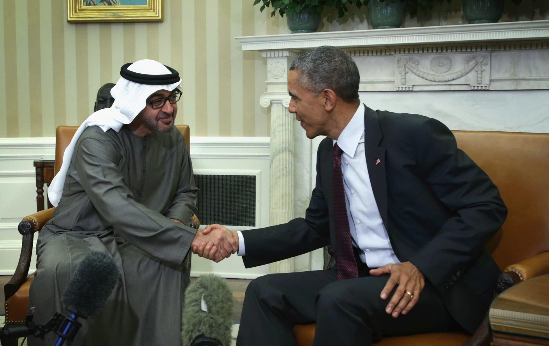 صورة أرشيفية من لقاء أوباما ومحمد بن زايد بالبيت الأبيض في أبريل 2015