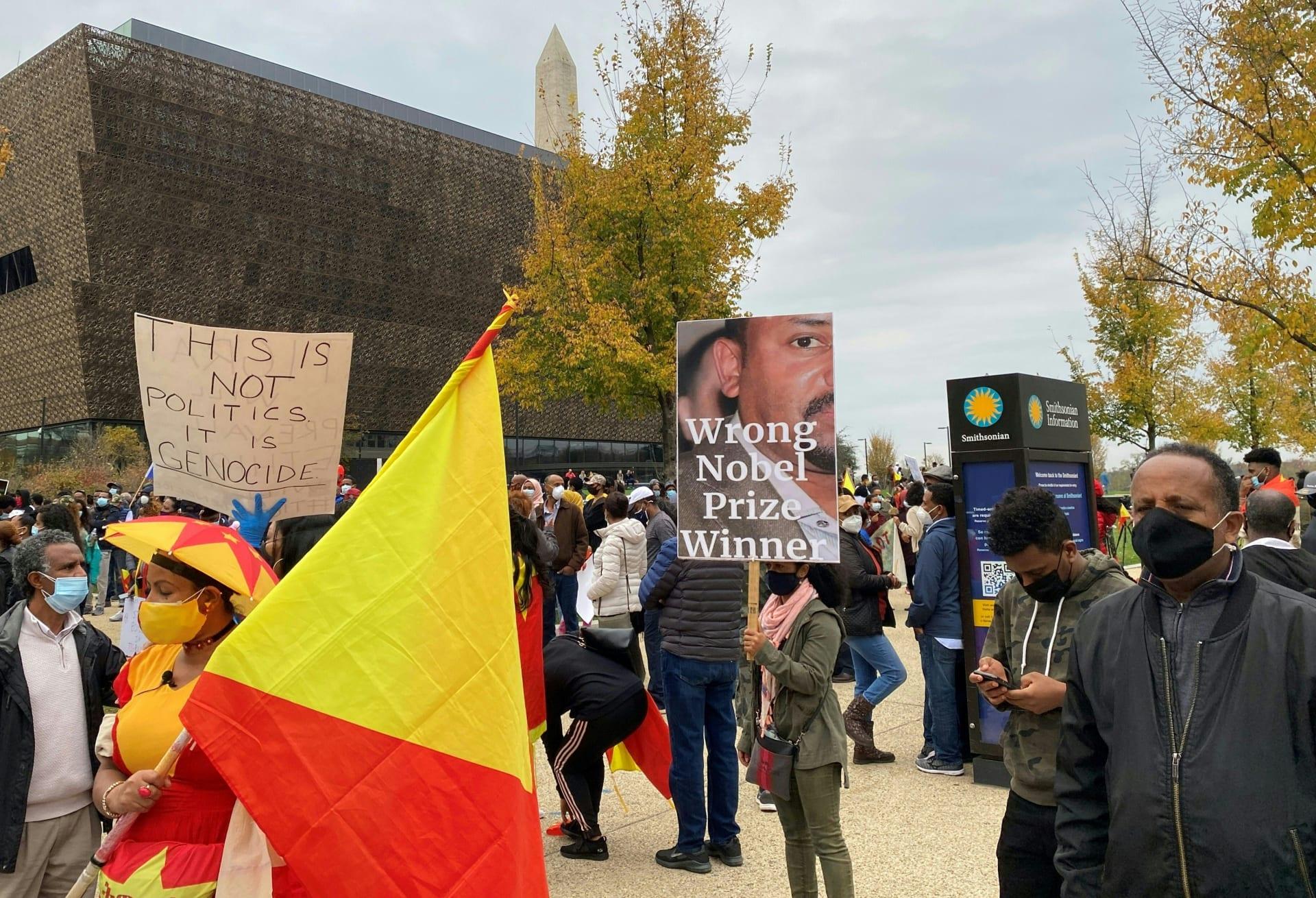 إثيوبيون من تيغراي يتظاهرون ضد الحرب وأبي أحمد في واشنطن
