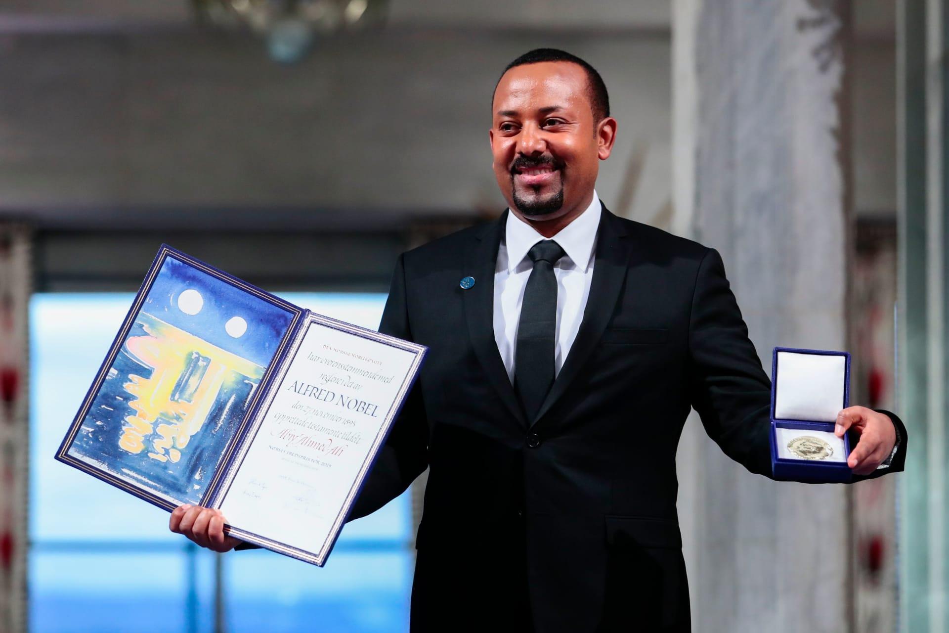 صورة أرشيفية لرئيس وزراء إثيوبيا خلال تسلمه جائزة نوبل للسلام في 10 ديسمبر 2019