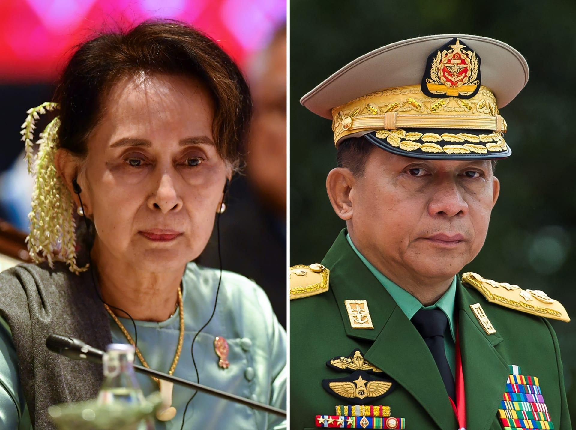 مين أونج هلانغن (يمين) وأونج سان سوكي