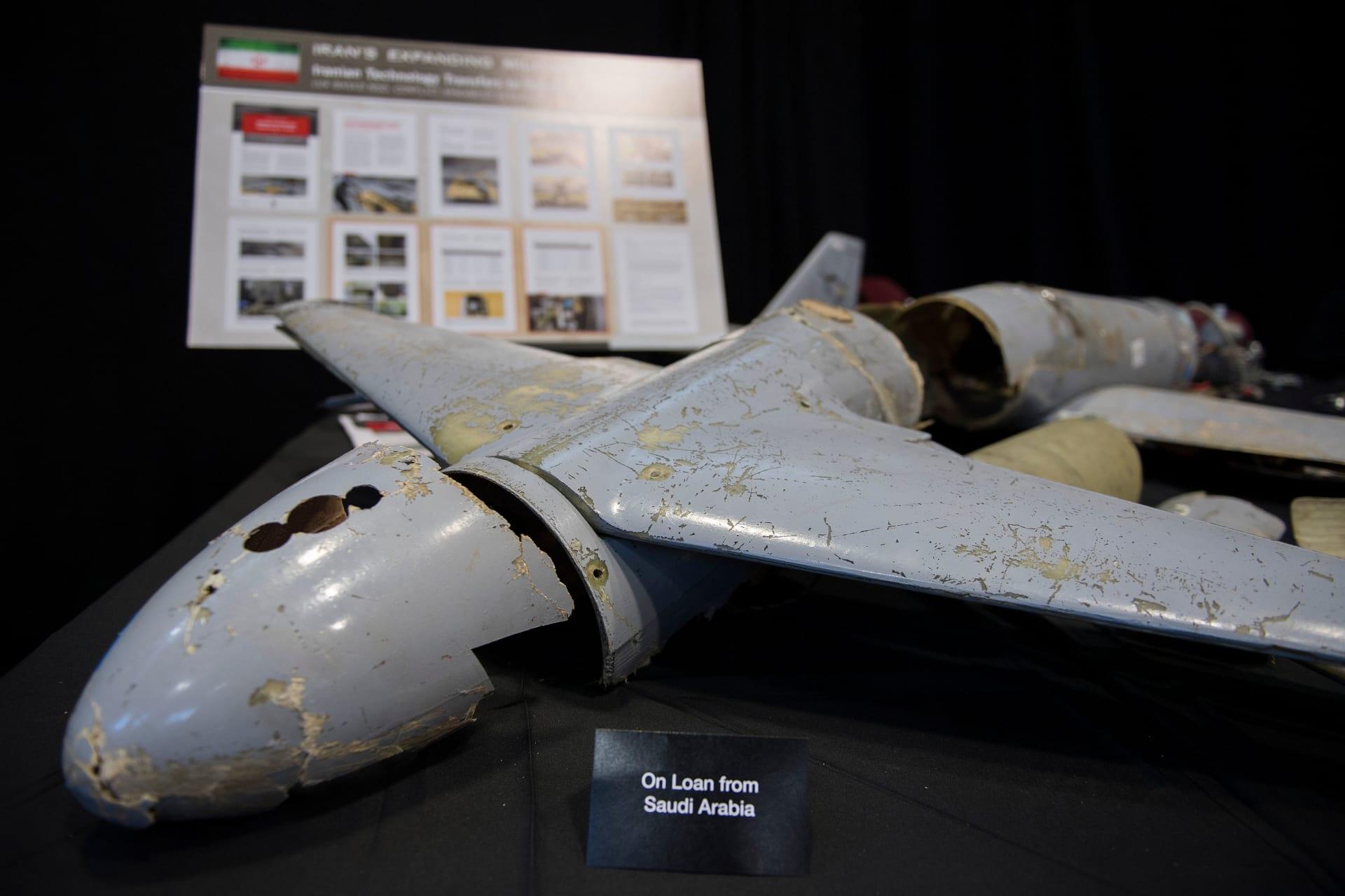 """صورة أرشيفية لطائرة """"درون"""" تابعة لجماعة الحوثي عرضت العام 2017"""