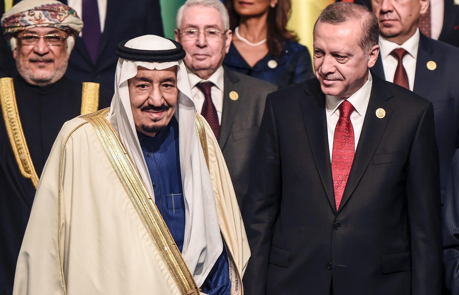 الرئيس التركي رجب طيب أردوغان إلى جانب العاهل السعودي الملك سلمان بن عبدالعزيز - أرشيفية