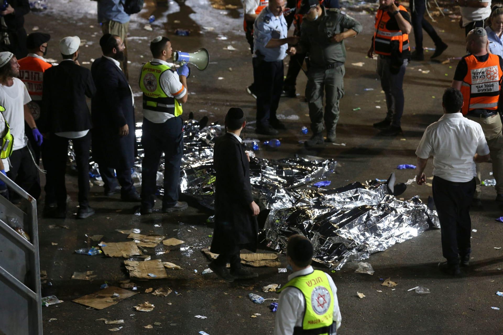 من موقع حادث التدافع بإسرائيل