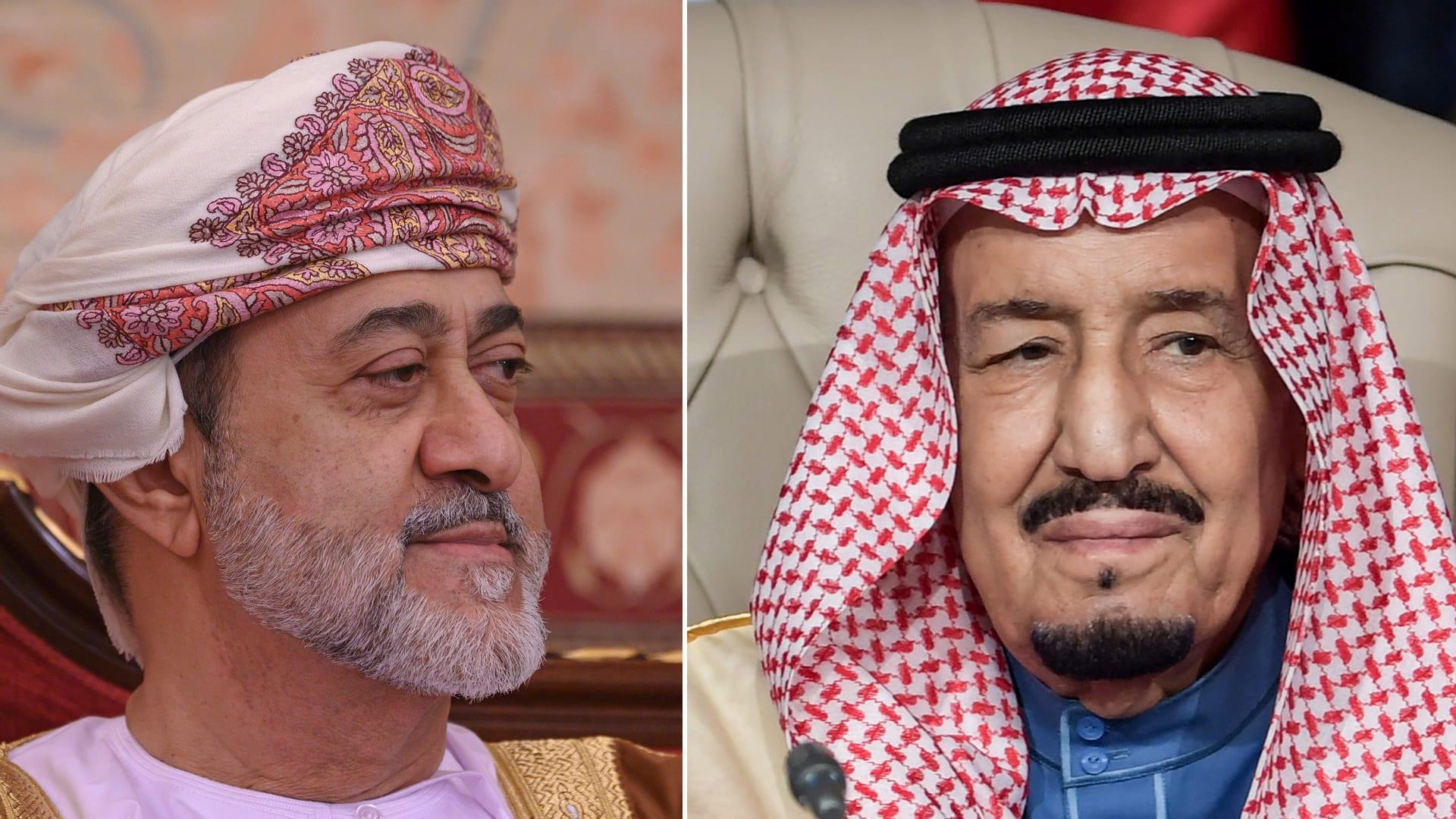 العاهل السعودي الملك سلمان بن عبدالعزيز وسلطان عُمان هيثم بن طارق