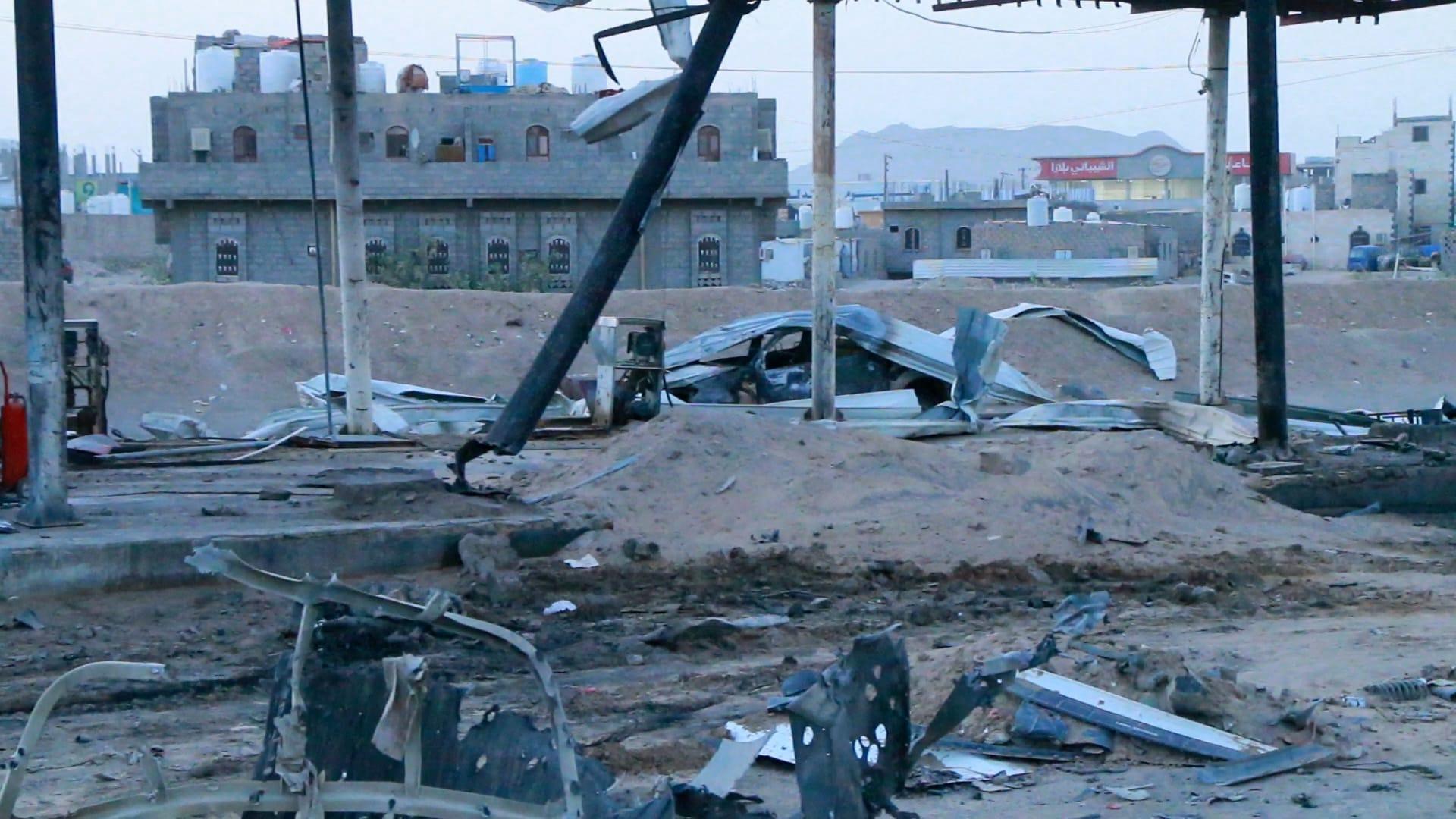 آثار قصف على مدينة مأرب - يونيو 2021