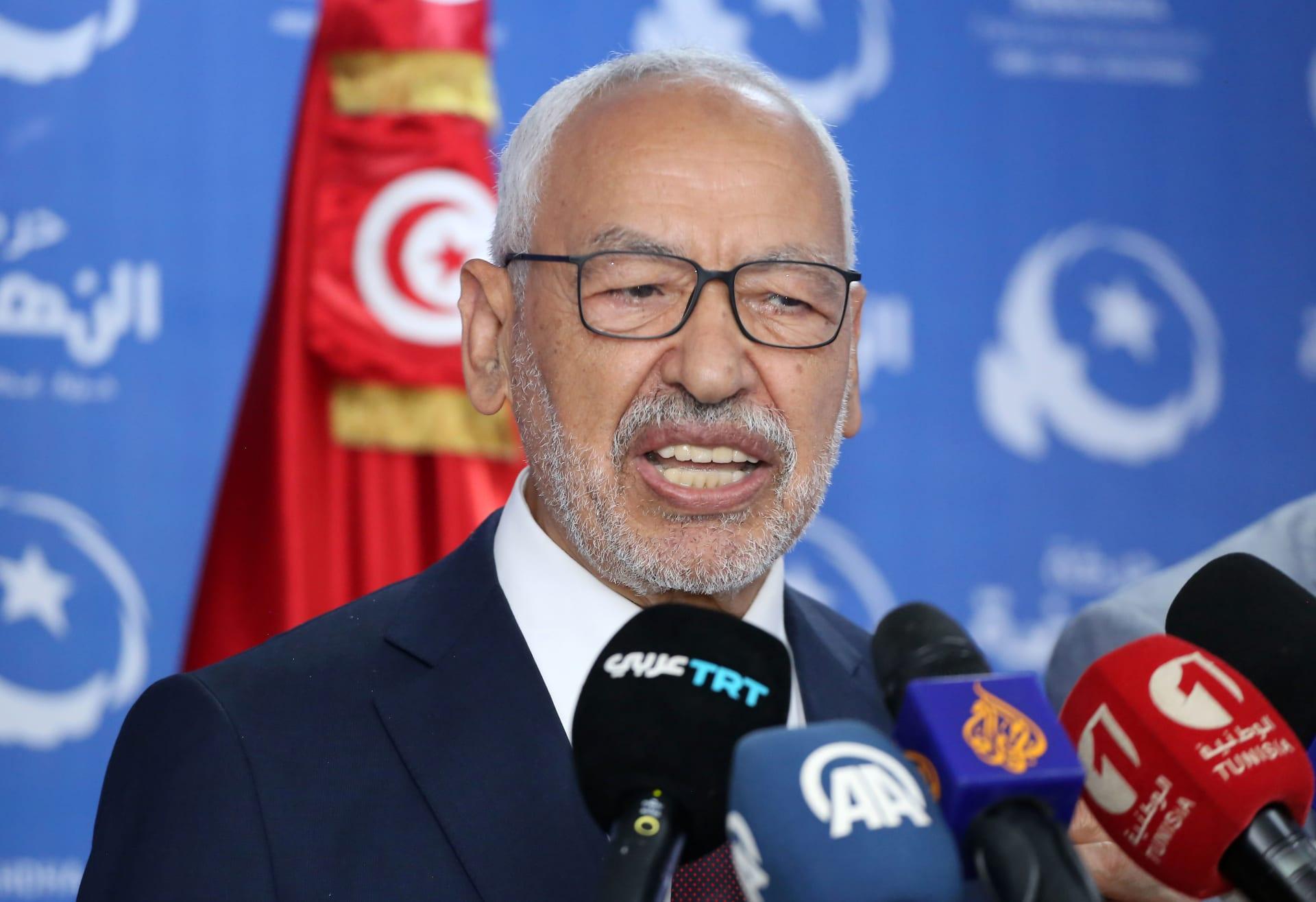 رئيس البرلمان التونسي راشد الغنوشي، وزعيم حزب النهضة الإسلامي