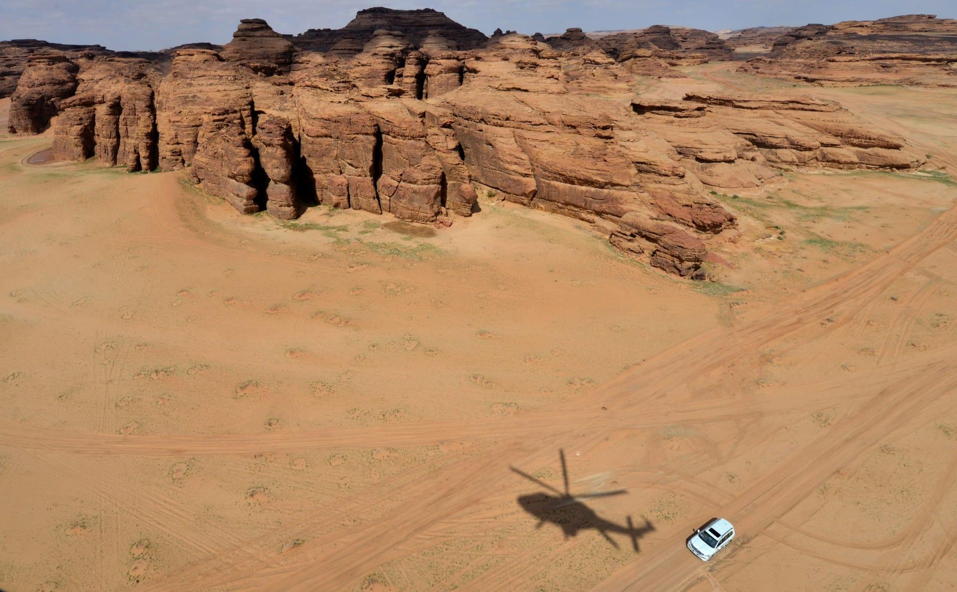 صورة تم التقاطها في 11 فبراير 2019 تُظهر منظرًا جويًا للصخور الملونة في صحراء العلا بالقرب من مدينة العلا شمال غرب السعودية