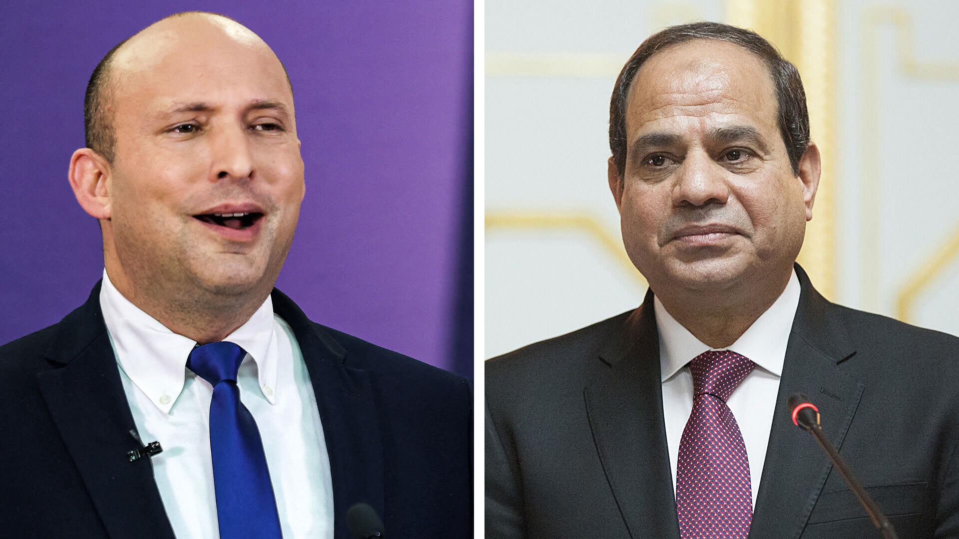 الرئيس المصري عبدالفتاح السيسي (من اليمين) ورئيس الوزراء الإسرائيلي نفالتي بينيت (من اليسار)