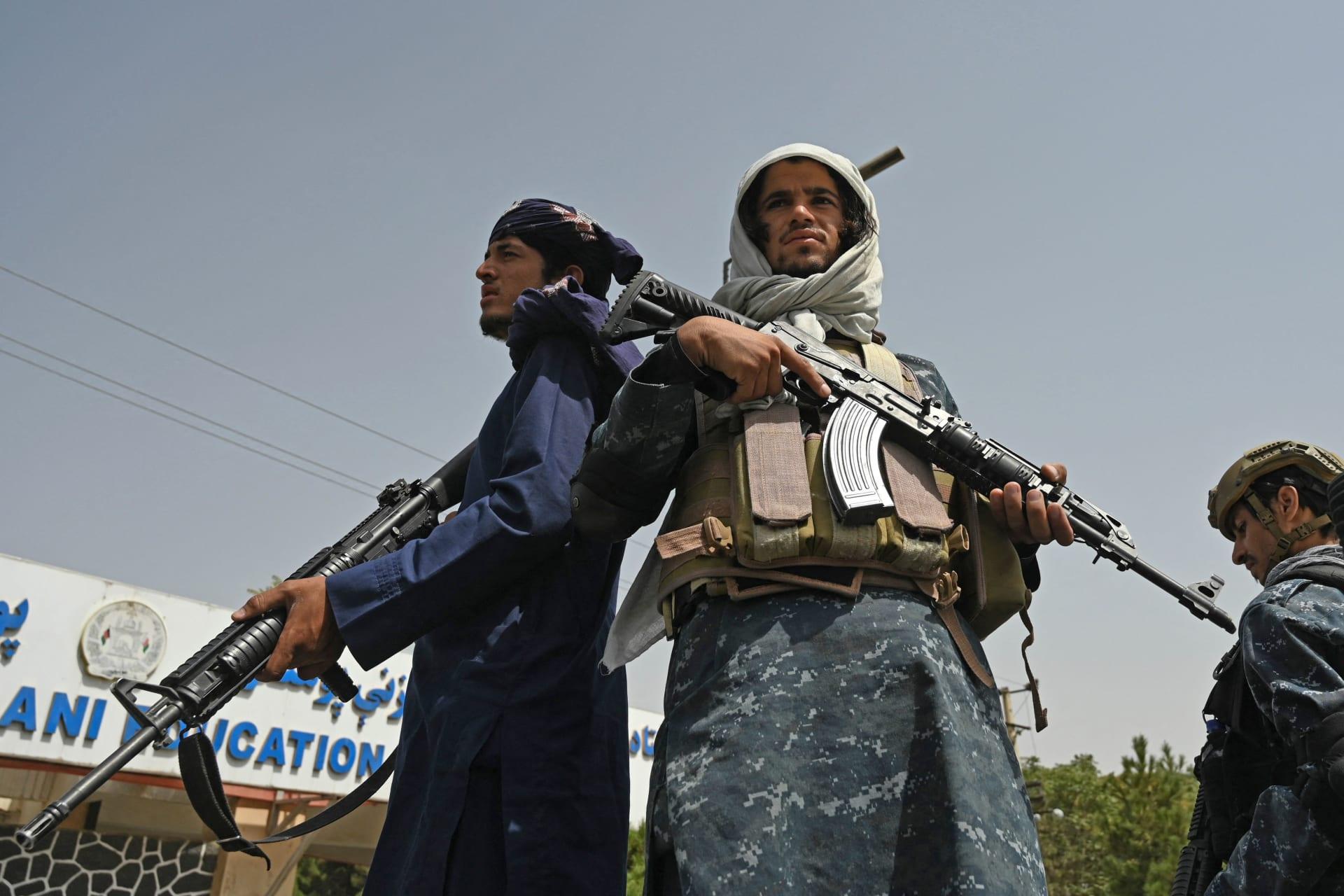 مقاتلو طالبان خارج جامعة الشهيد رباني في كابول - 11 سبتمبر 2021