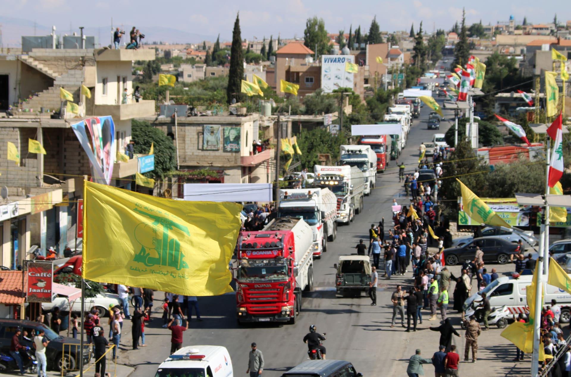 صهاريج تحمل وقودًا إيرانيًا تصل إلى مدينة العين في الهرمل شرق سهل البقاع في لبنان في 16 سبتمبر/ أيلول 2021.