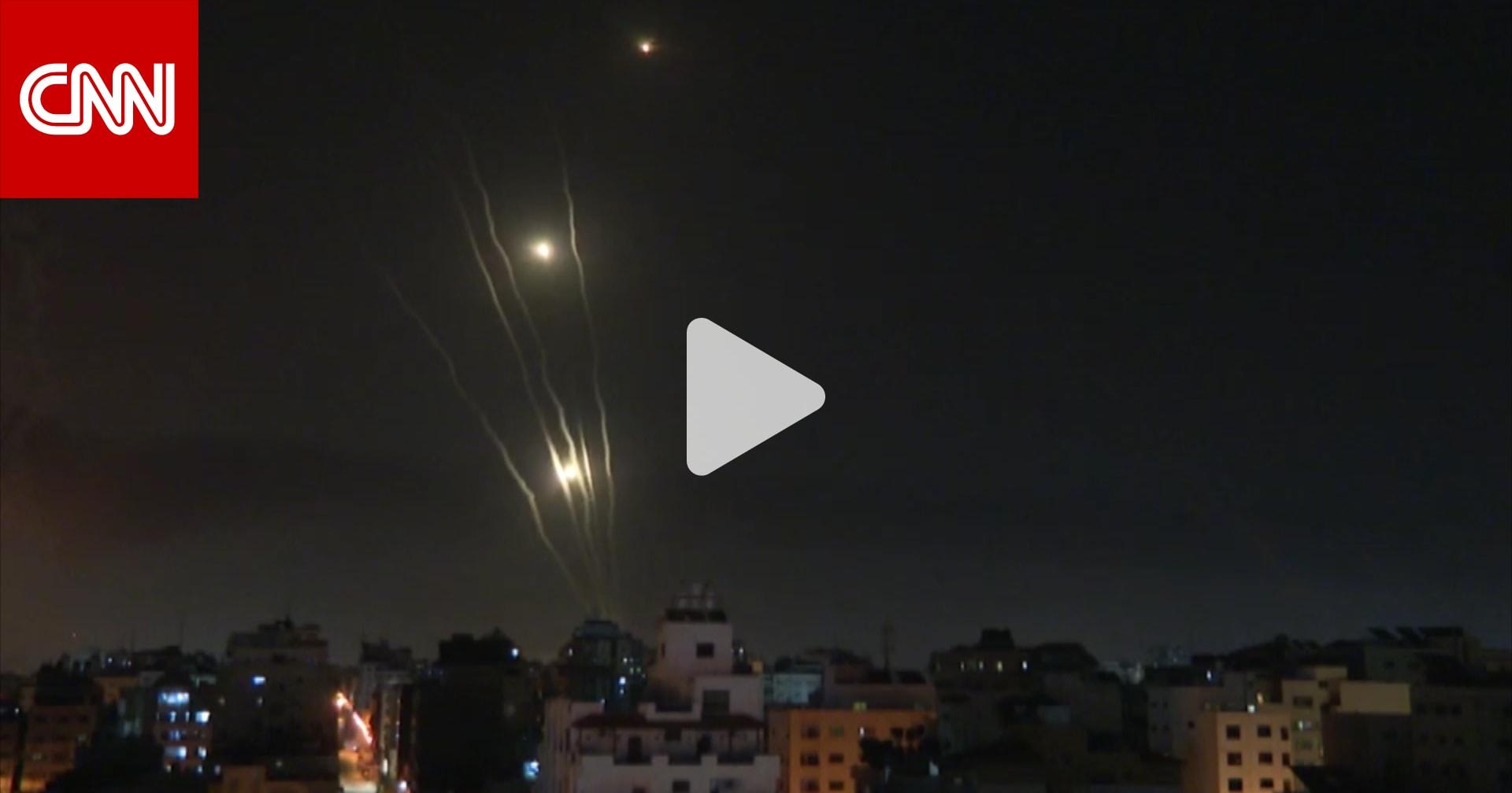 لحظة إطلاق صواريخ من غزة إلى إسرائيل فجر الأربعاء