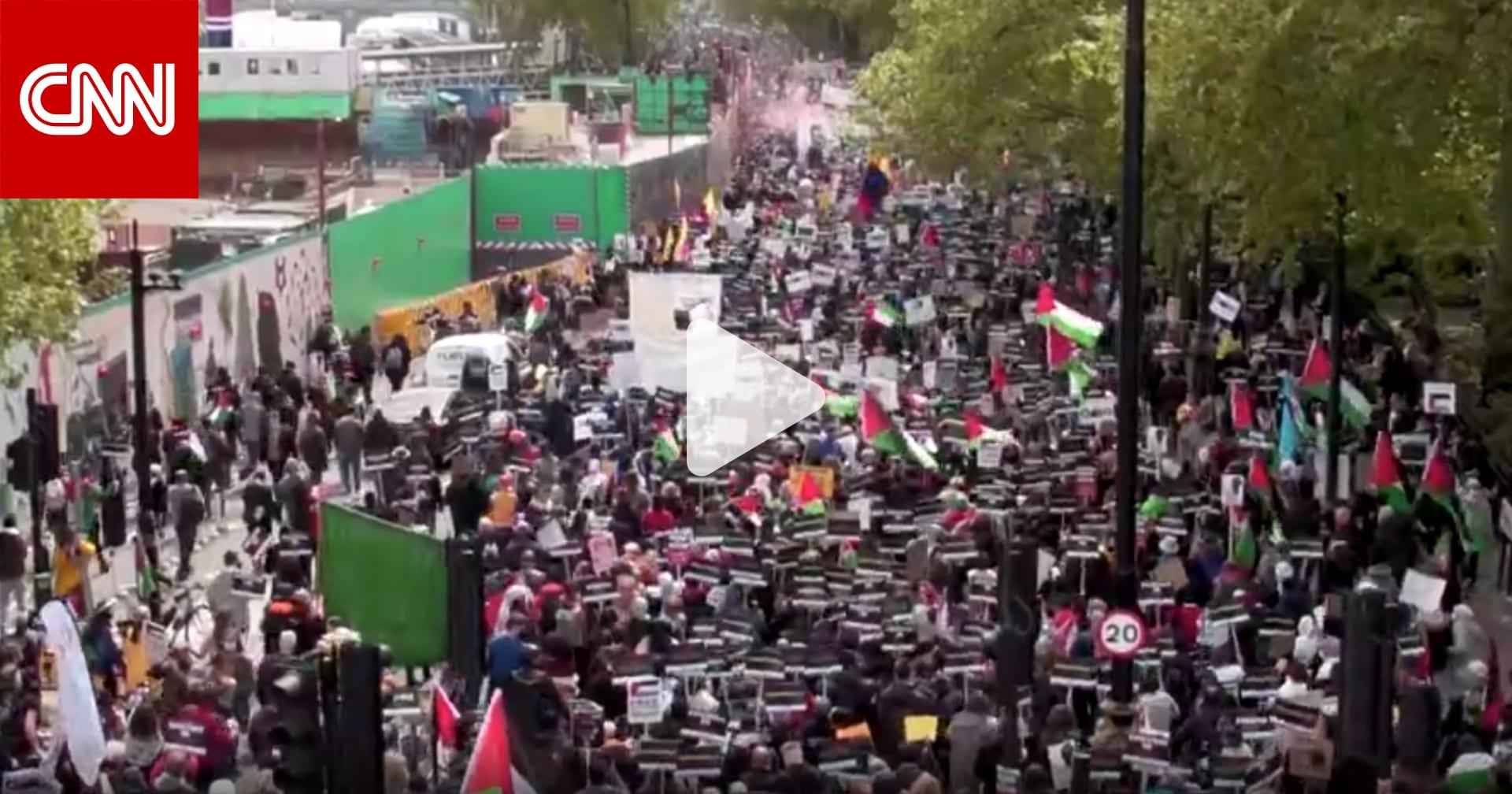 شاهد.. مظاهرة تجوب شوارع لندن تضامنًا مع الفلسطينيين