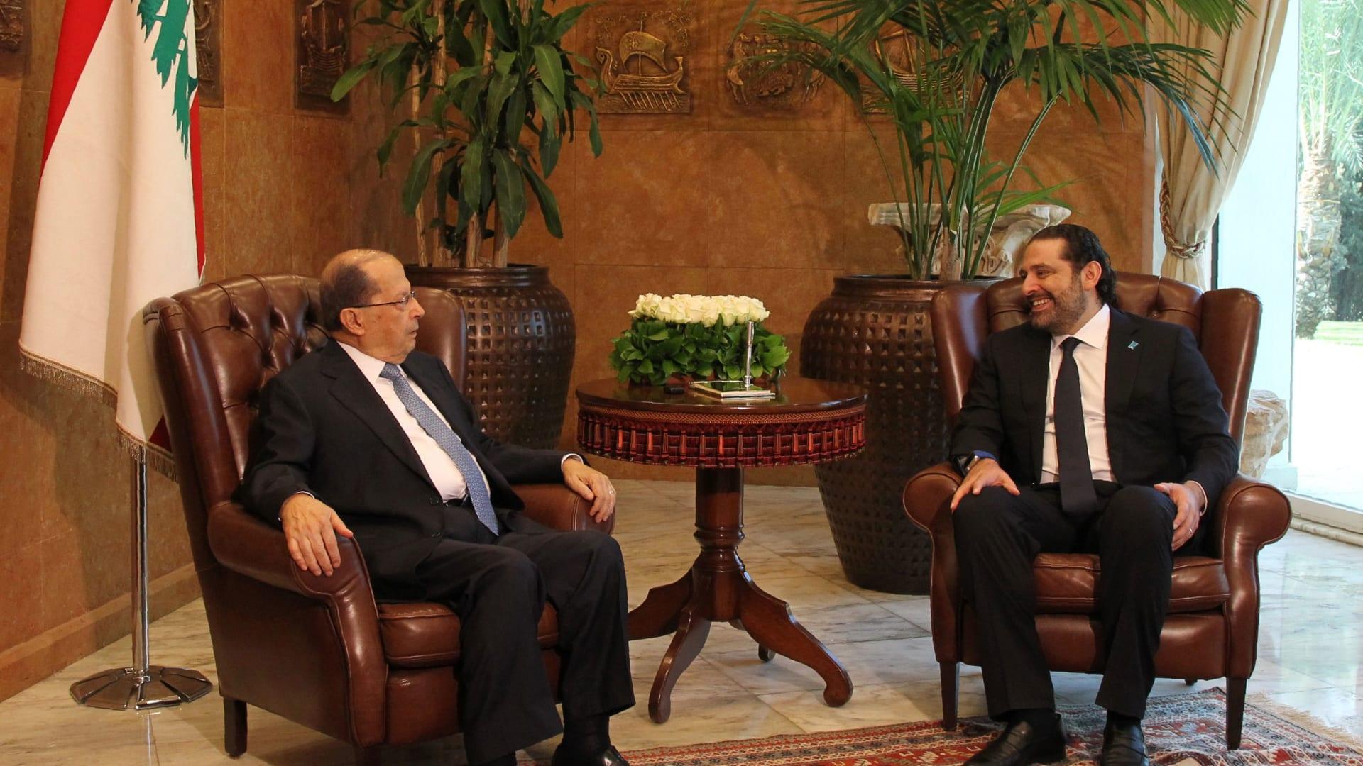 لحظة إعلان الحريري استقالته من رئاسة حكومة لبنان