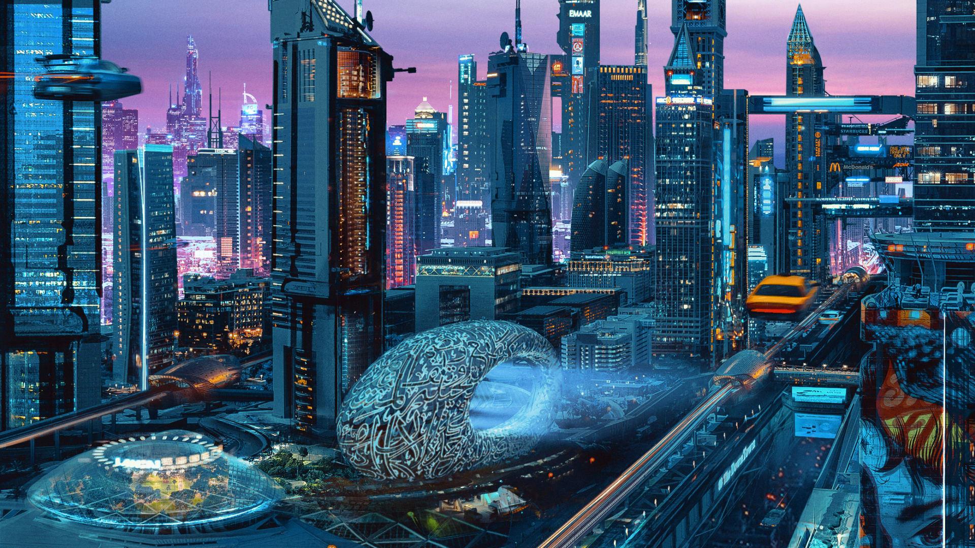 سيارات طائرة وناطحات سحاب بممرات خارجية.. فنان برازيلي يتخيل دبي في عام 2075