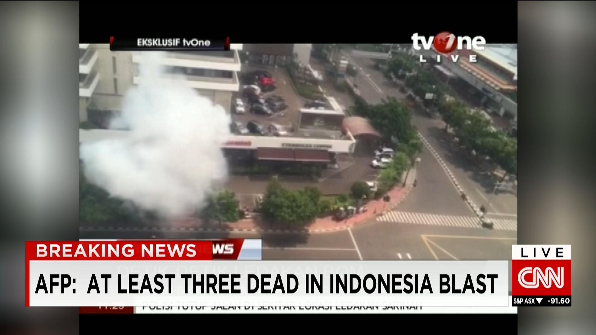 صورة للانفجار الذي وقع قرب مقهى ستاربكس في جاكرتا