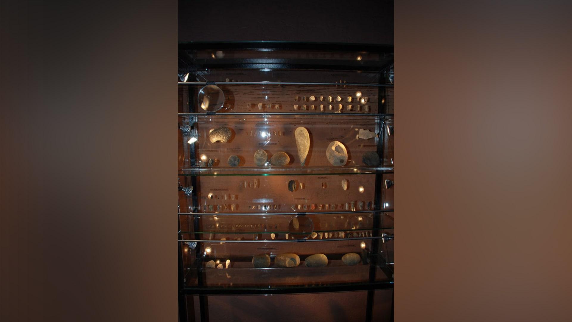 """بعض القطع الأثرية المعروضة في قاعة """"أشخاص ما قبل التاريخ""""."""