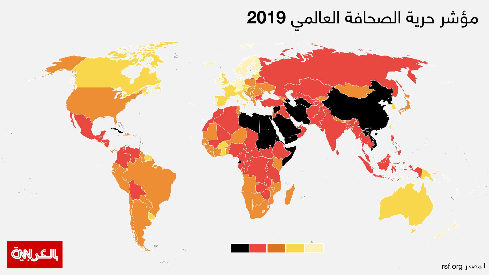 """هذا ترتيب الدول العربية بـ""""حرية الصحافة 2019"""".. ما ترتيب بلدك؟"""