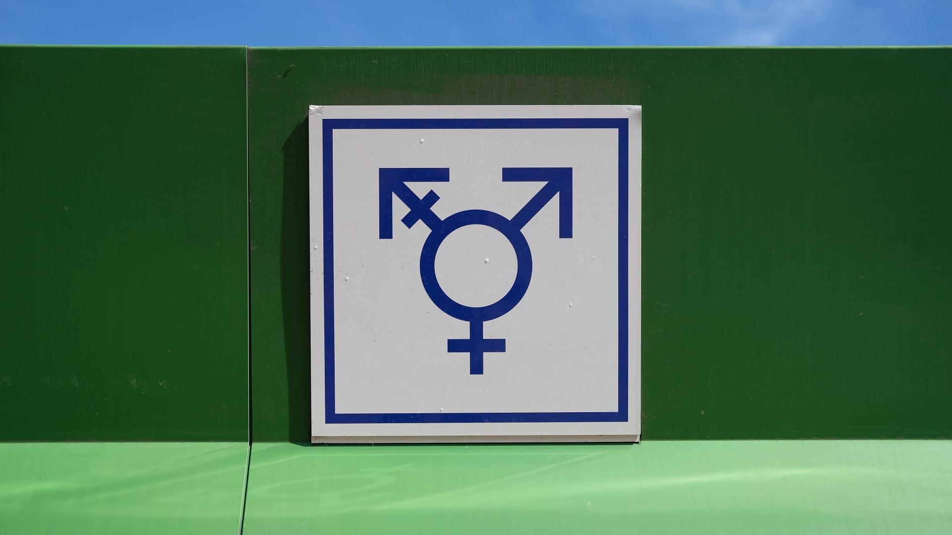 إشارة تعليمية تحمل شعار الذكر والأنثى والمتحولين جنسيا
