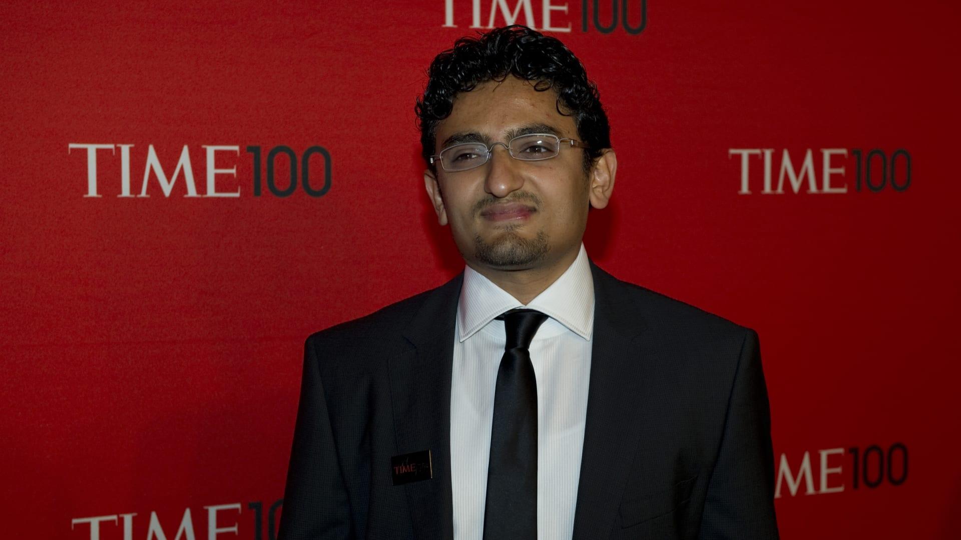 صورة أرشيفية لوائل غنيم عند حضوره قائمة أكثر 100 شخصية تأثيرا بالعالم للتايمز العام 2011