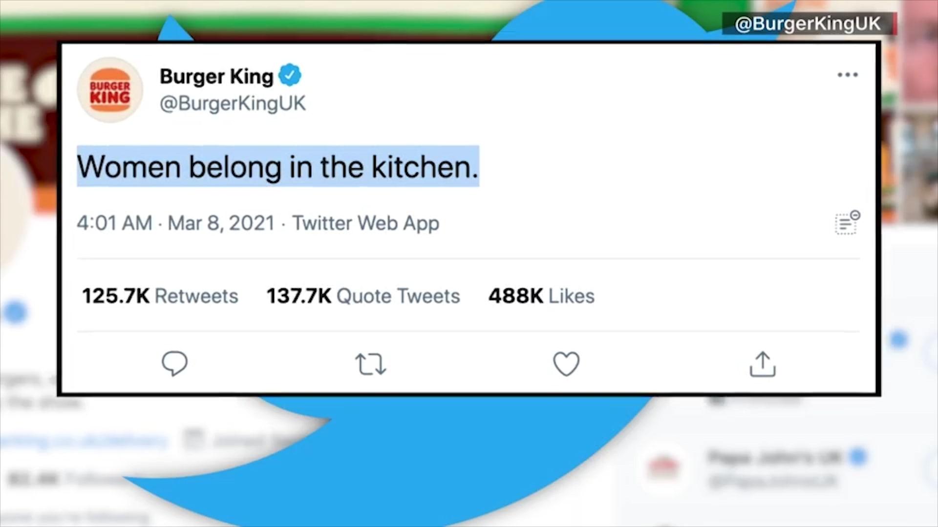 """""""مكان المرأة في المطبخ"""".. انتقادات تطال """"برجر كنج"""" بسبب تغريدة في يوم المرأة العالمي"""