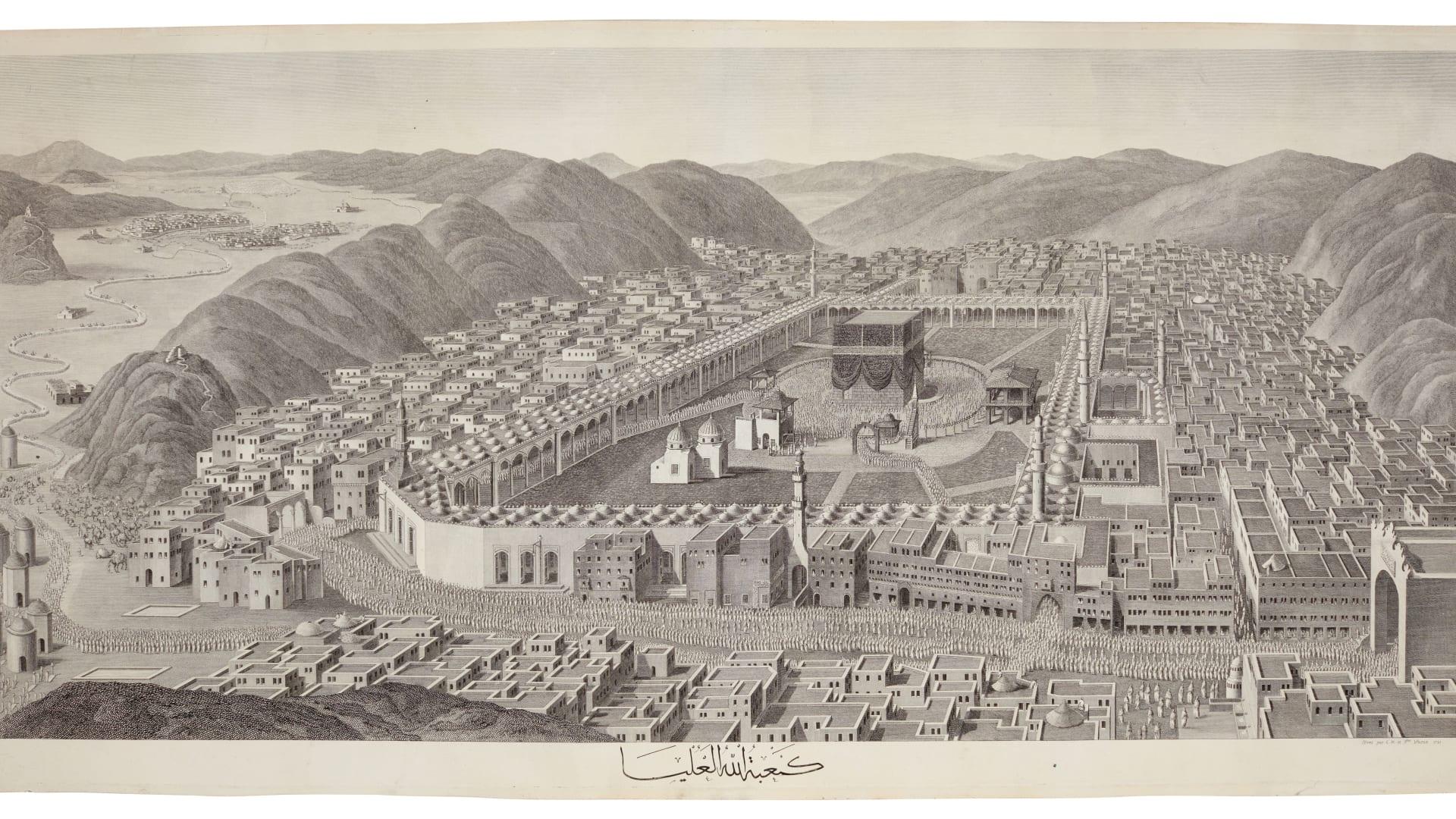 مشهد بانورامي مبهر.. عرض رسمة لمكة من القرن الـ18 بمزاد وقد يتجاوز سعره 25 ألف دولار