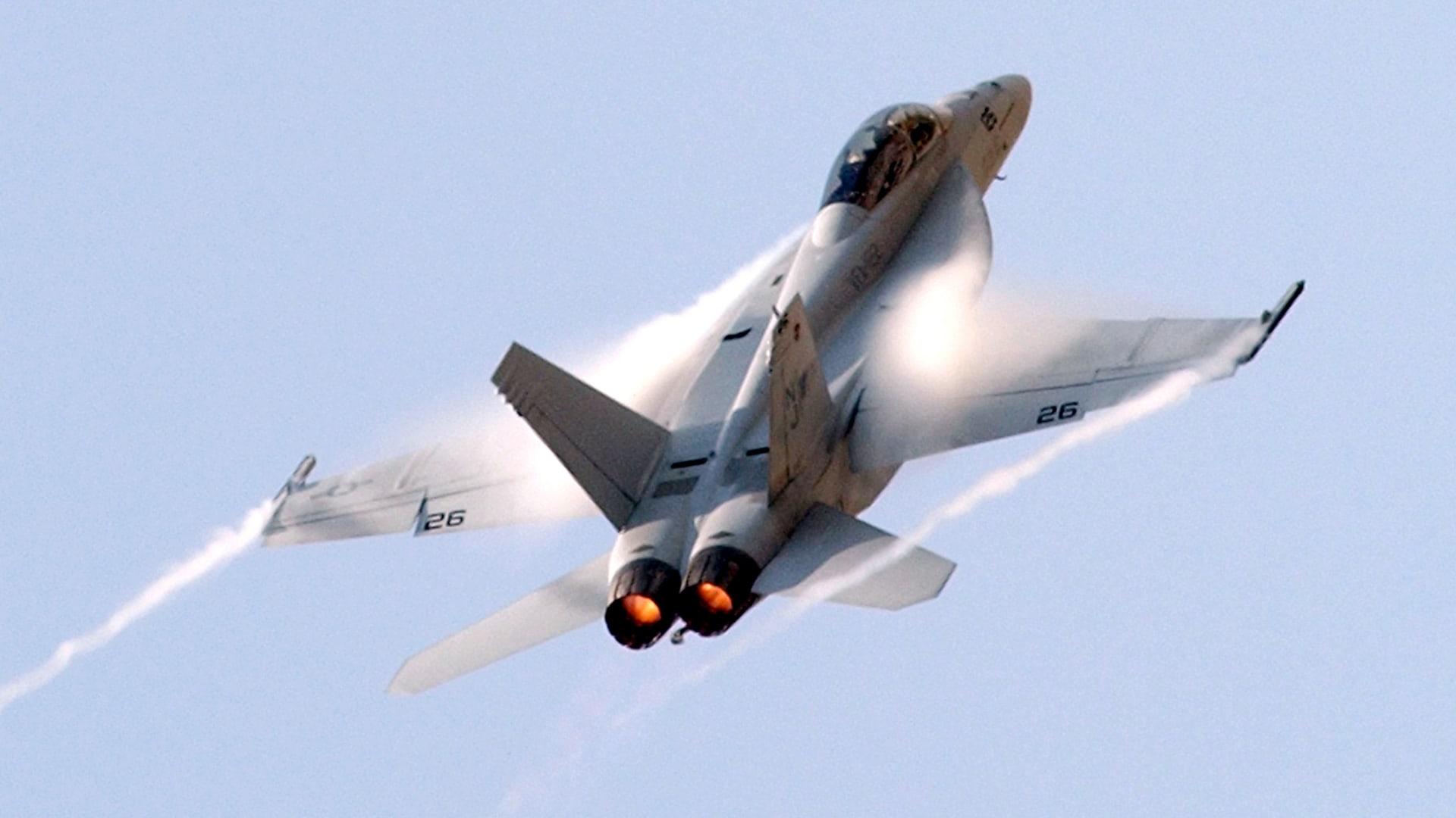 صورة أرشيفية لمقاتلة من طراز F-18 سوبر هورنيت