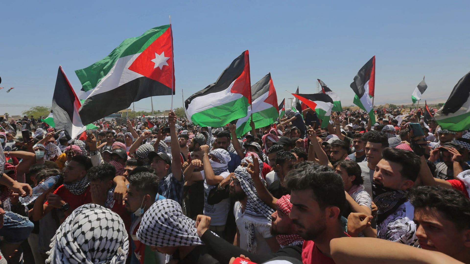 صورة من المظاهرات الاحتجاجية في منطقة الكرامة 15 مايو 2021