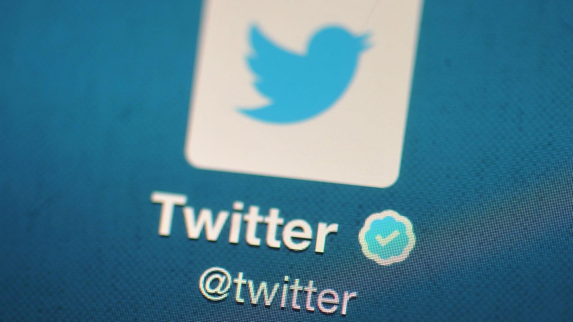 شعار تويتر على جهاز محمول