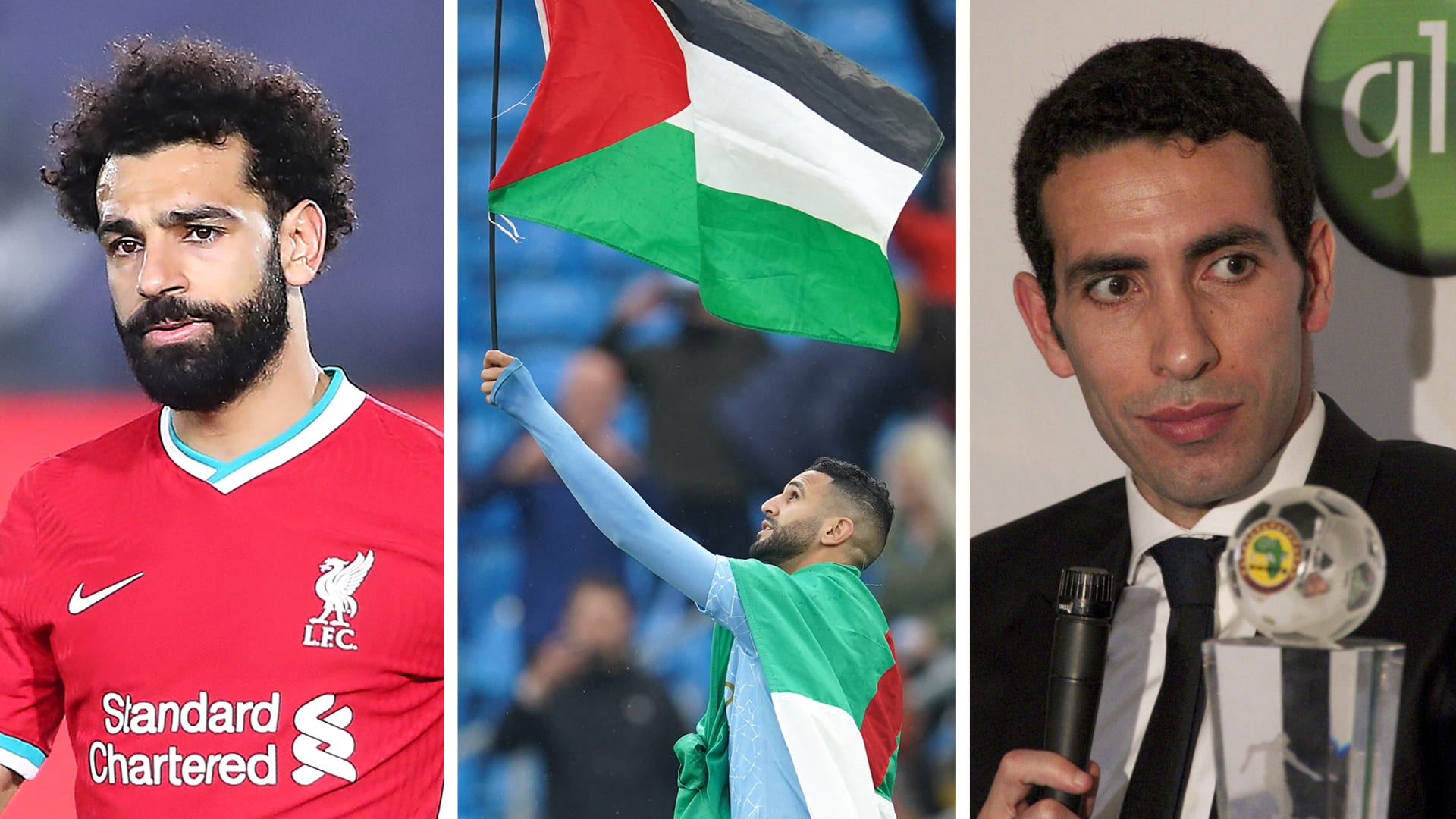 صورة تجمع محمد أبو تريكة (من اليمين) ورياض محرز (وسط) ومحمد صلاح (يشار)