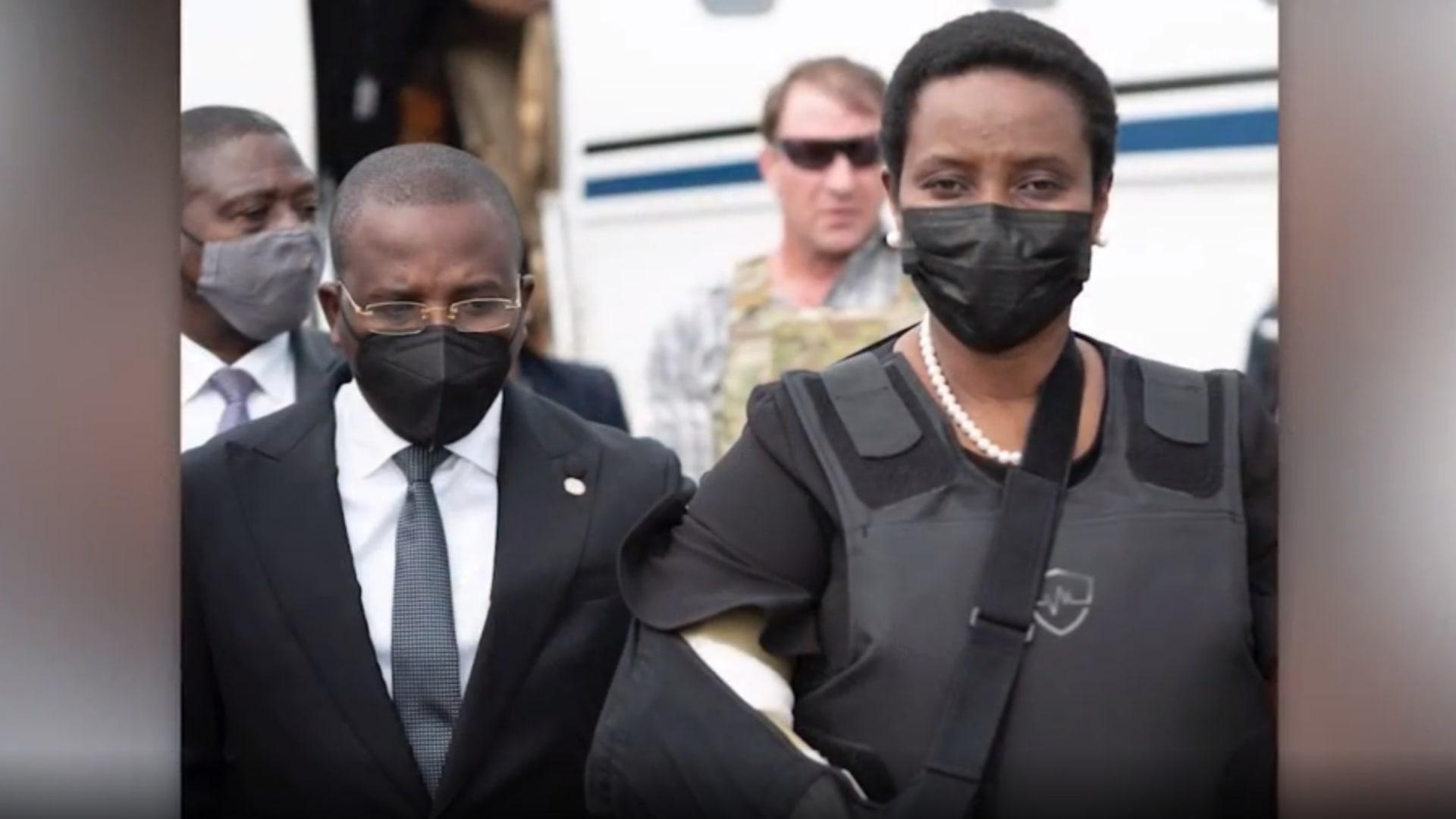 بيد مربوطة وسترة واقية من الرصاص.. ظهور زوجة رئيس هاييتي الراحل