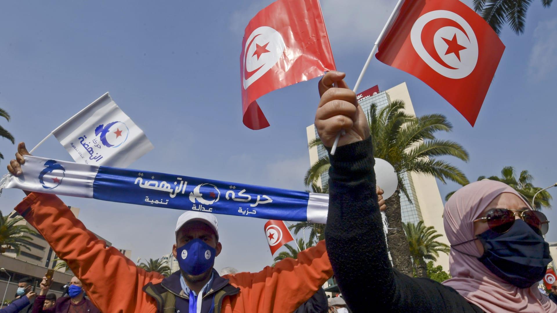 صورة أرشيفية لمناصري حركة النهضة التونسية في مسيرة سابقة