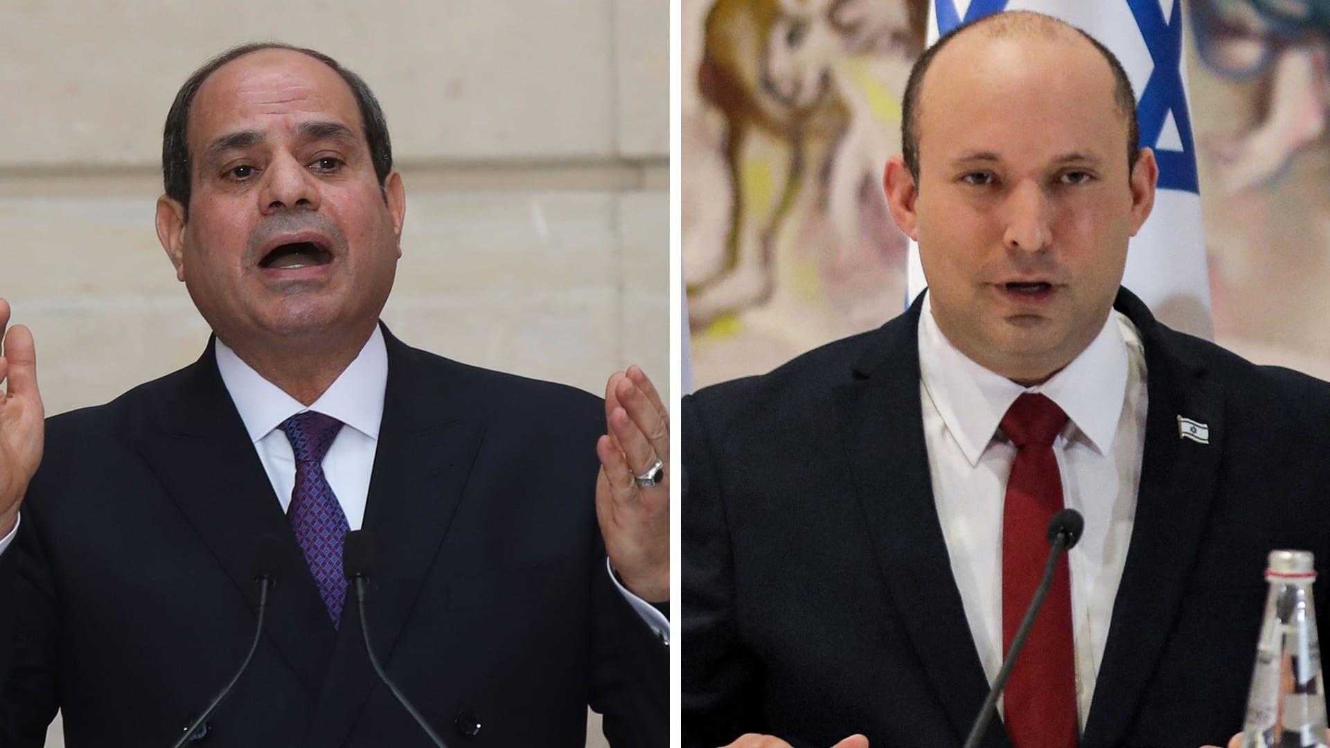      رئيس الوزراء الإسرائيلي، نفتالي بينيت والرئيس المصري عبدالفتاح السيسي