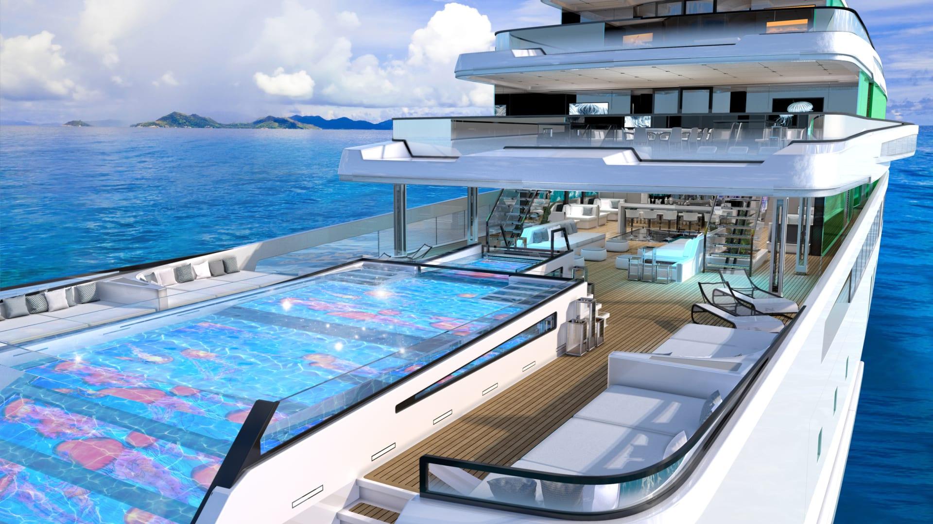 تصميمه مبتكر.. يتضمن مفهوم هذا اليخت الفاخر حوض سباحة لا متناهي وسينما في الهواء الطلق