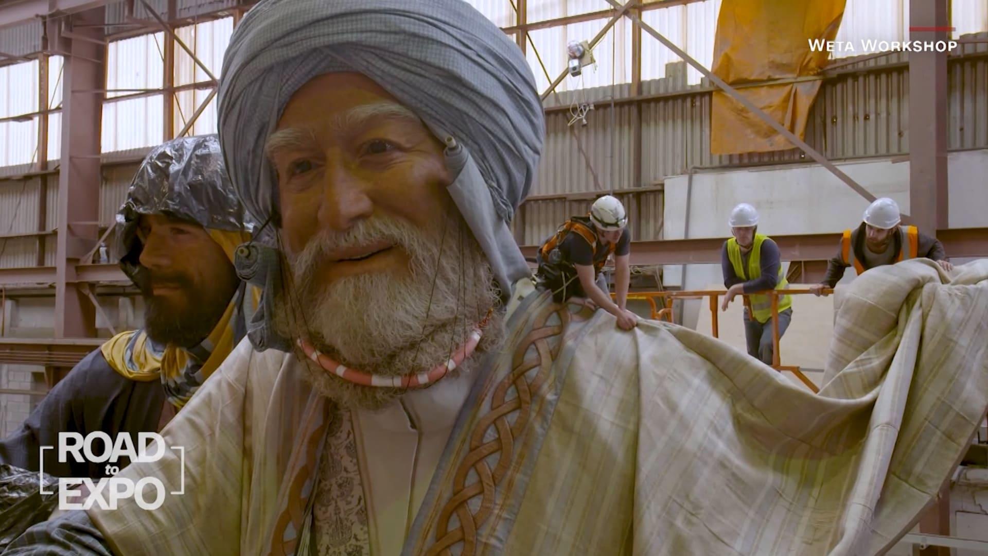 """فريق أفلام """"سيد الخواتم"""" يحول البكري وابن بطوطة وبن ماجد إلى عمالقة في إكسبو دبي"""