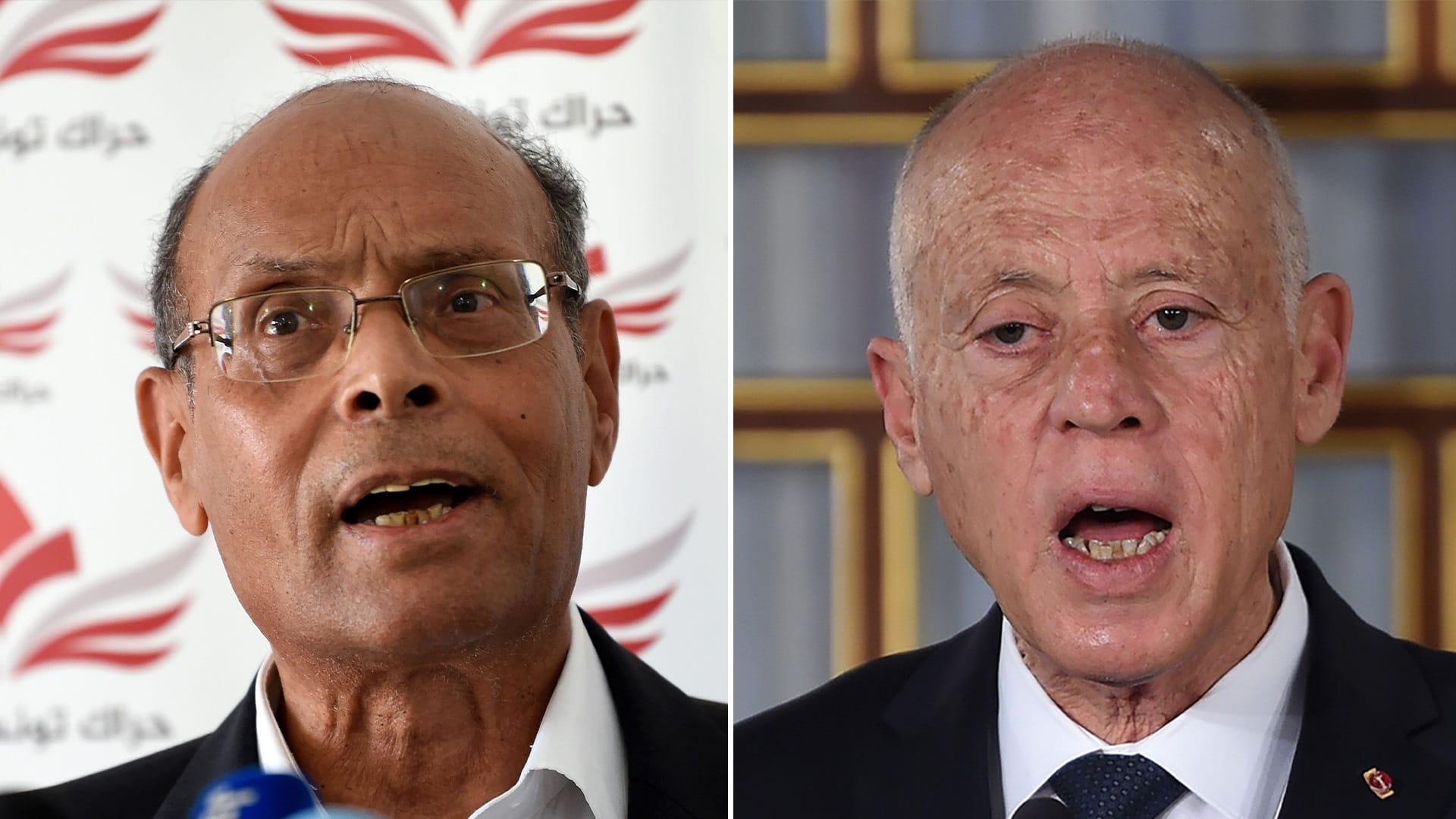 لرئيس التونسي، قيس سعيد والرئيس السابق منصف المرزوقي