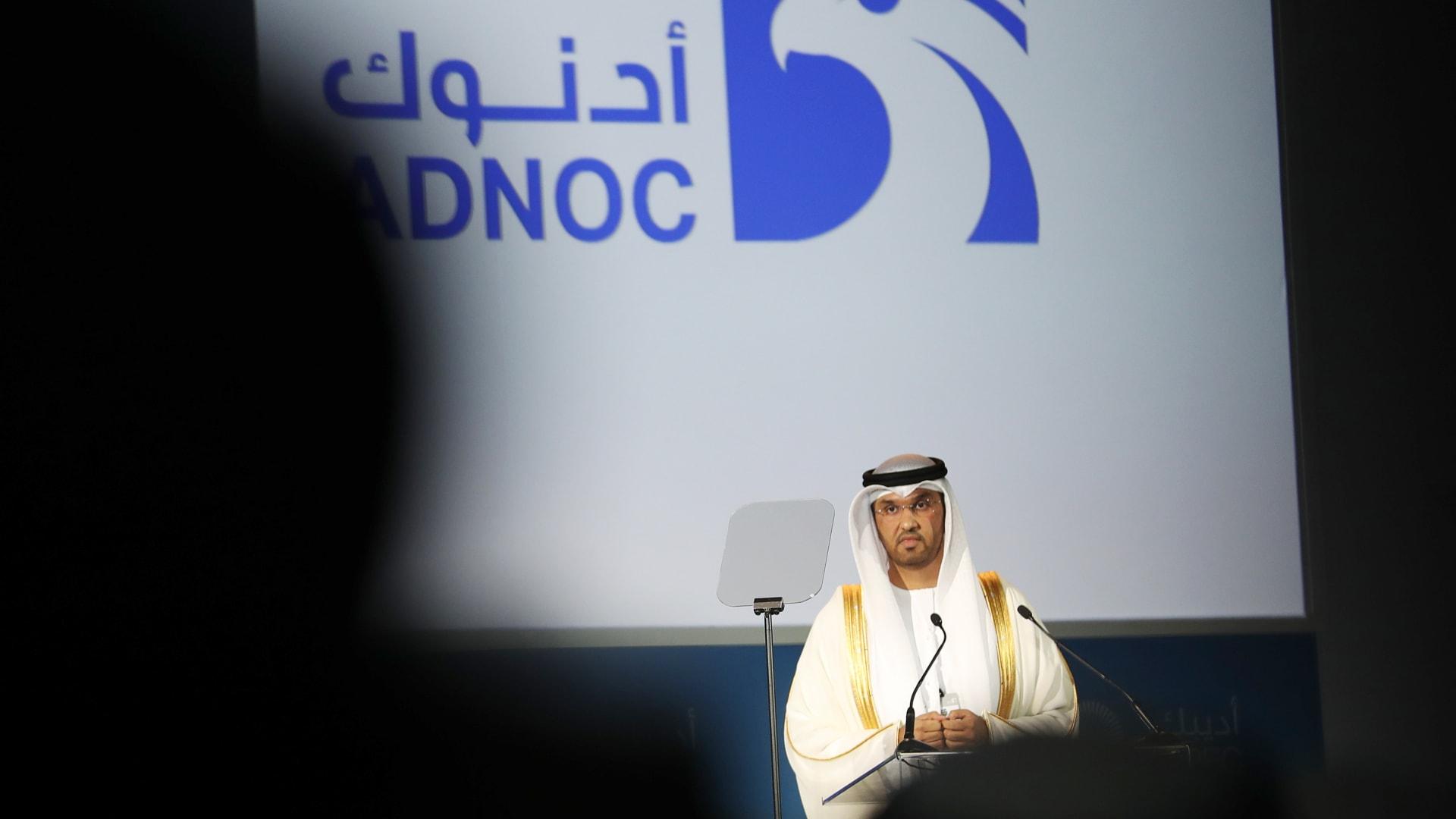 الرئيس التنفيذي لشركة أدنوك الاماراتية سلطان الجابر في مؤتمر