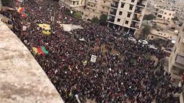 آلاف الأكراد يتظاهرون في عفرين ضد تركيا