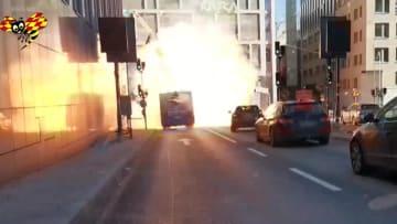 فيديو يظهر لحظة انفجار حافلة ركاب في السويد