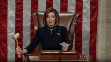 شاهد.. لحظة إعلان عزل ترامب بمجلس النواب
