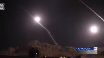 لحظة انطلاق صواريخ بالستية إيرانية نحو قاعدة عين الأسد