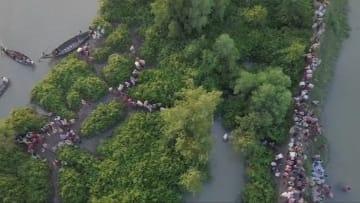 طائرة من دون طيار ترصد نزوح آلاف الروهينغا من ميانمار