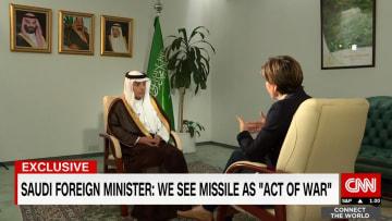 الجبير لـCNN:الصاروخ الإيراني عمل حربي وحزب الله أطلقه من أراض يحتلها الحوثيون في اليمن