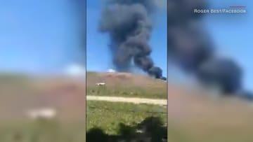 شاهد.. اللحظات الأولى لتحطم طائرة عسكرية أمريكية
