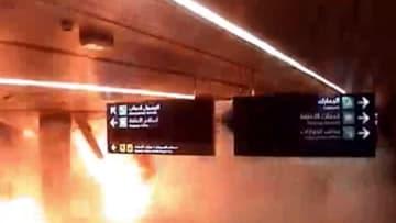 لحظة وقوع الهجوم على مطار أبها الدولي في السعودية