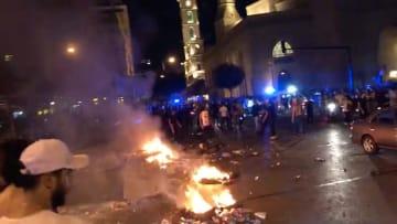 نيران وشغب في أعقاب خطاب الحريري بوسط بيروت