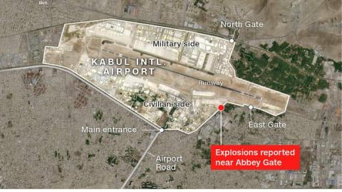 موقع أحد الانفجارين بمطار كابول