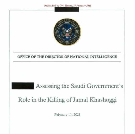 غلاف تقرير الاستخبارات الامريكية حول مقتل خاشقجي